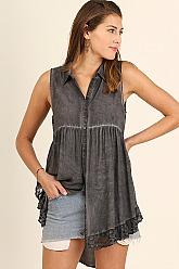 Umgee Sleeveless Tunic with Lace - Ash