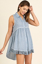 Umgee Sleeveless Tunic with Lace - Blue