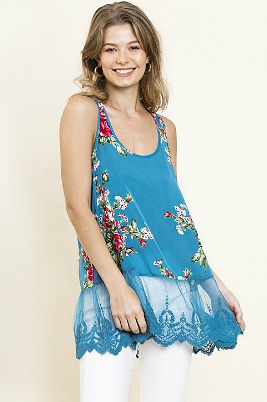 Teal Floral Tank With Lace by Umgee