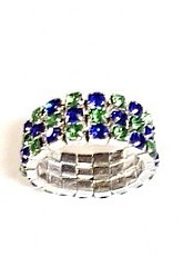 3 Row Seahawks Checkerboard Ring
