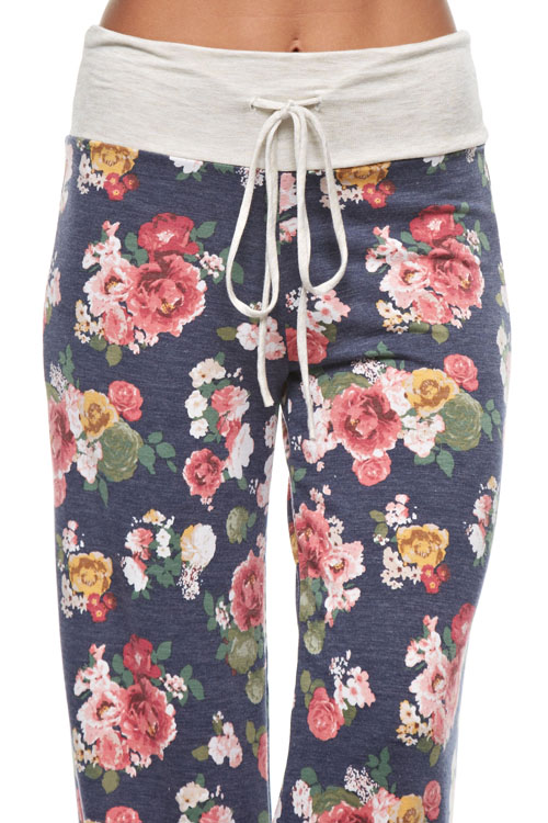 Floral Lounge Pants - Navy