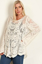 Plus Size All Over Lace Top