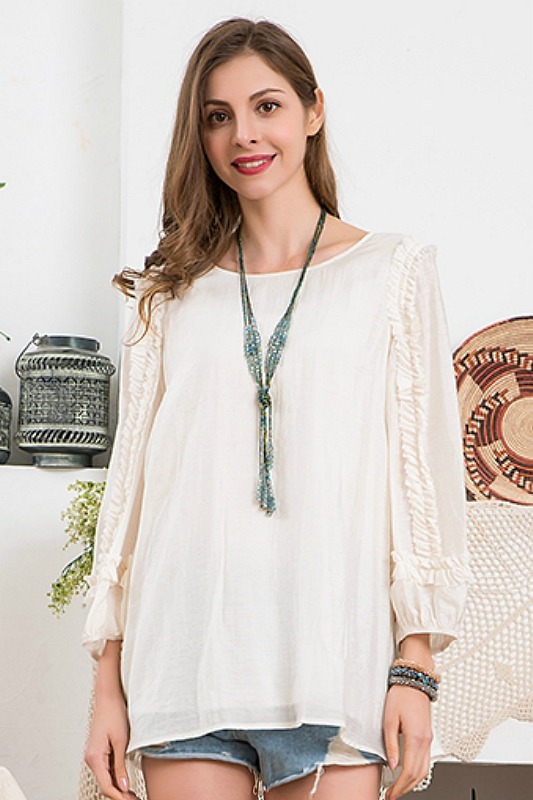 Paisley Vine Ruffled Accent Sleeve Blouse - Off White