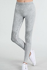 Vintage Moto Long Leggings - Cool Grey