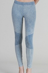 Vintage Moto Long Leggings - Ice Blue