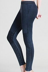 Vintage Moto Long Leggings - Denim Blue