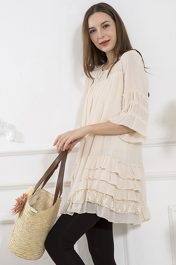 Chic Southern Summer - Beige Tunic with Sleeves