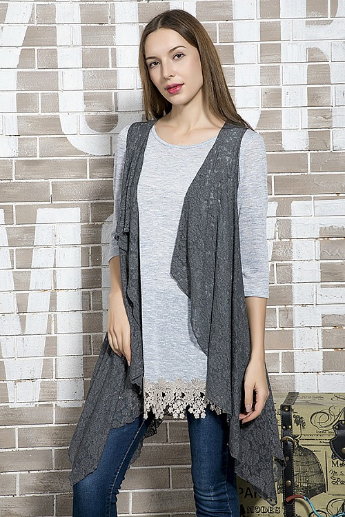 Lace Accent Vest - Grey