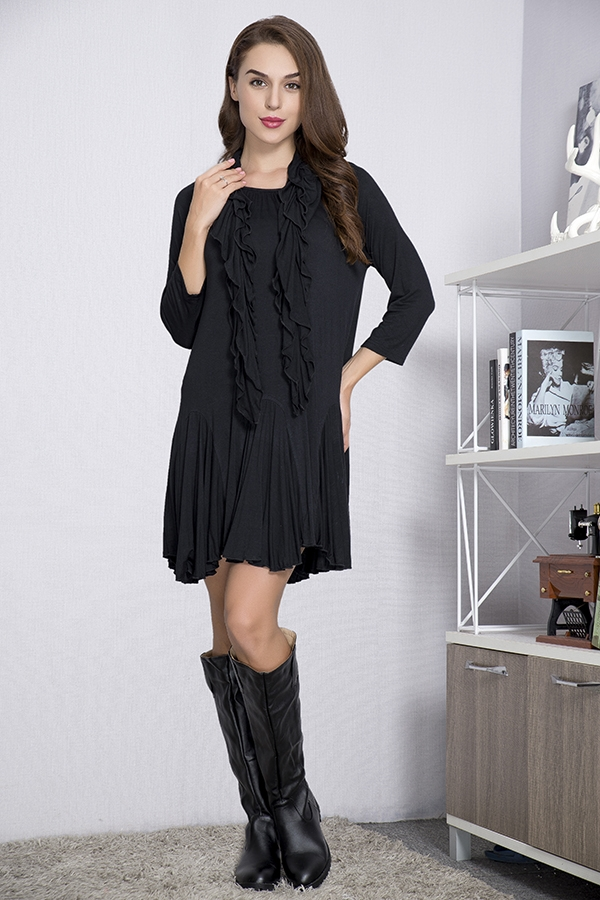 Jersey Girl Tunic with Scarf - Black