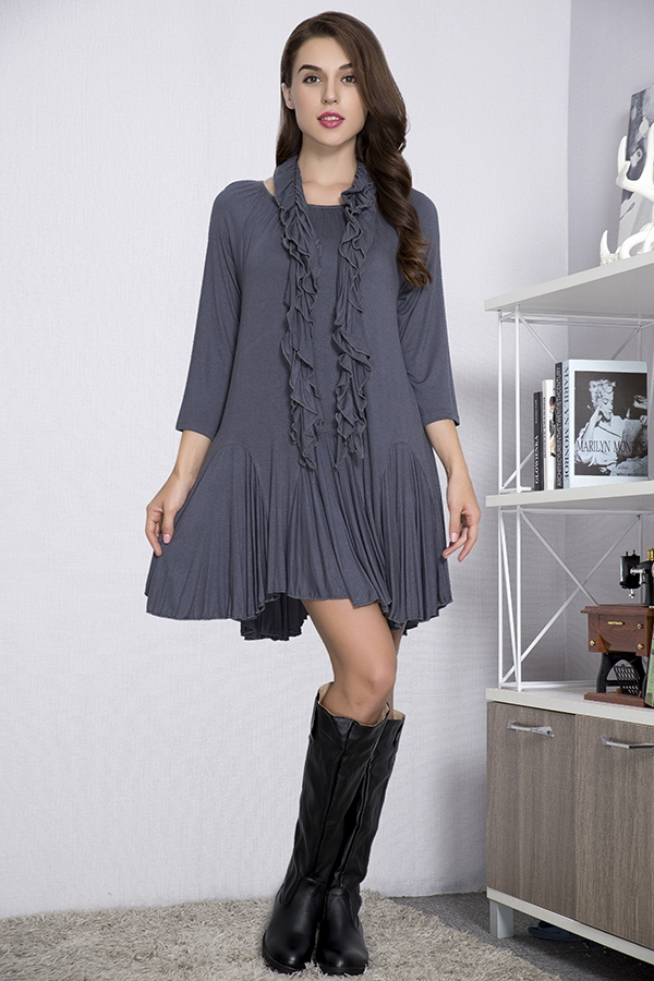 Jersey Girl Tunic with Scarf - Grey