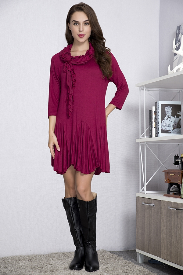 Jersey Girl Tunic with Scarf - Crimson