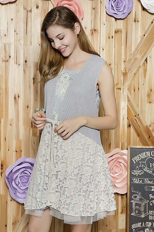 Plus Size I Feel Pretty Lace Vest - Grey