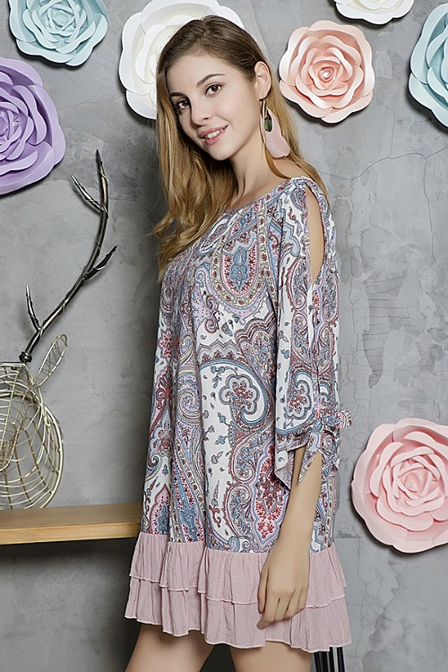 Paisley Print Cold Shoulder Top