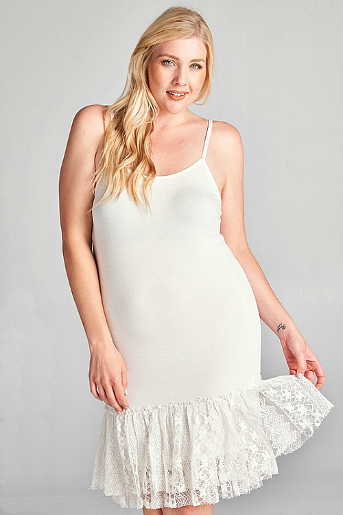 Plus Size Steal The Scene Lace Extender - Off White