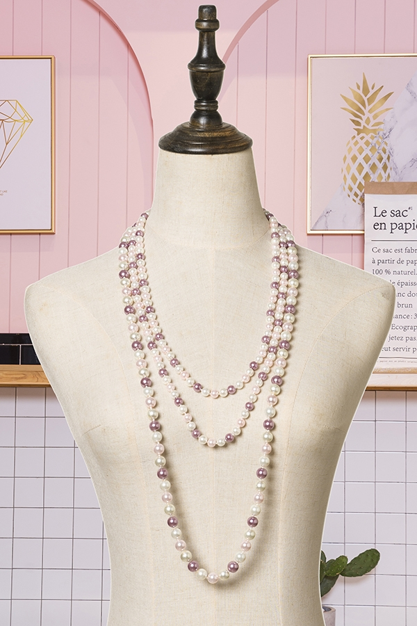 Lavender Layered Pearl Necklace