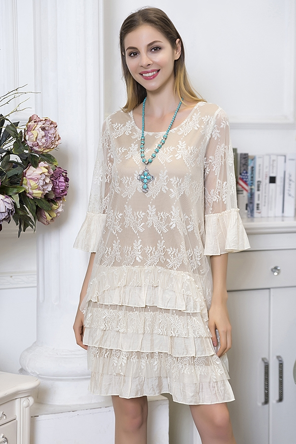 Stargazing Tiered Lace Tunic Dress