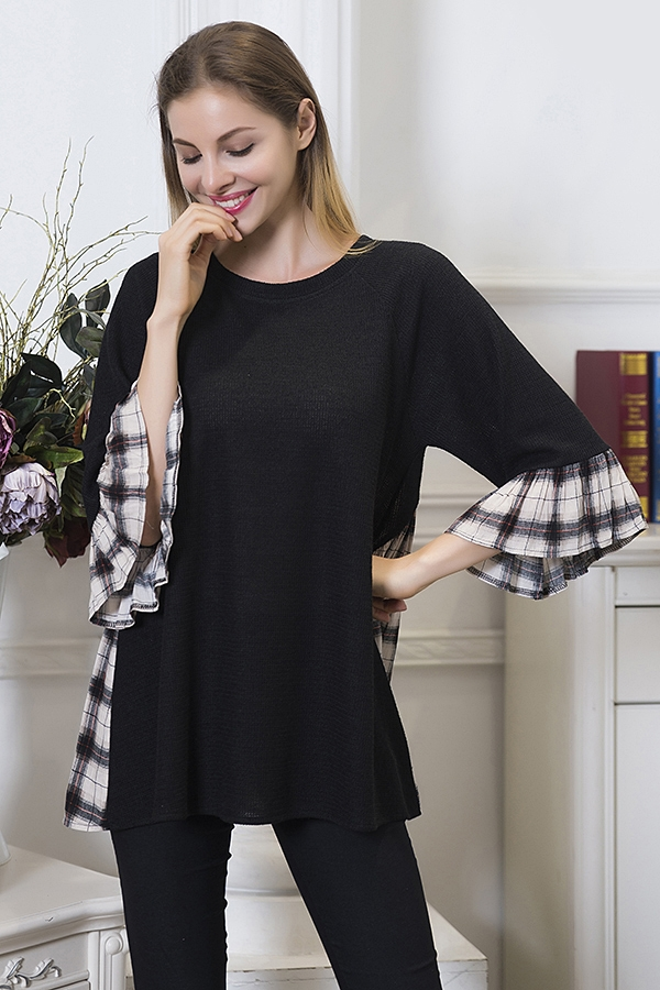 Plaid Accent Top - Beige and Black
