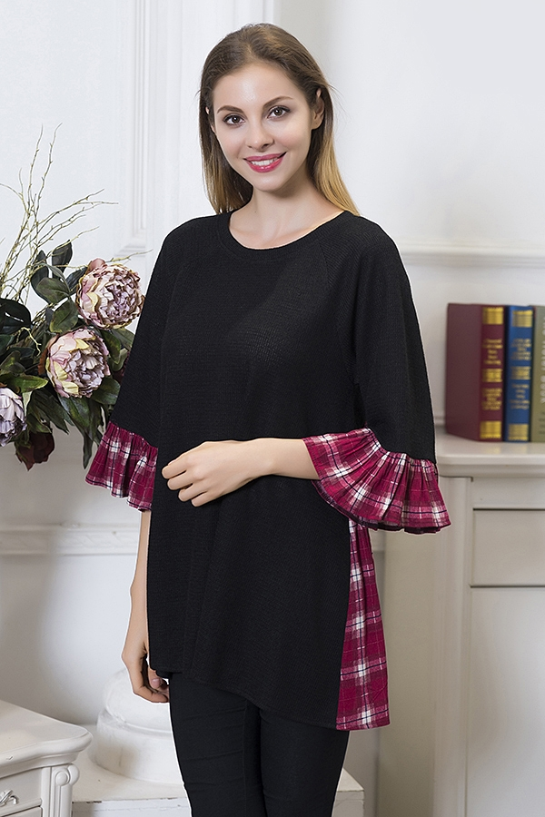 Plaid Accent Top - Crimson and Black