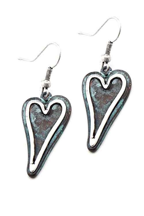 Two Tone Heart Earrings - More Colors