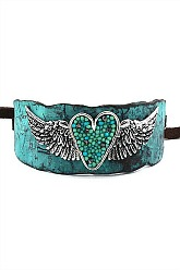 Country Cuff Heart & Wings Bracelet - Patina