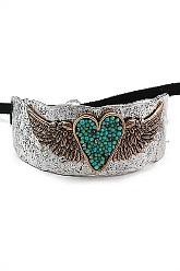Country Cuff Heart & Wings Bracelet - Silver