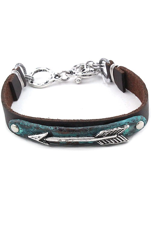 Arrow Cuff Bracelet- Green Patina