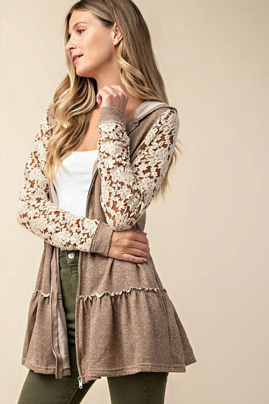 Dance In The Dark Lace Sleeve Cardigan
