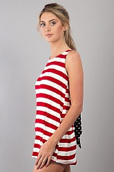 Striped Top with Bow - Red
