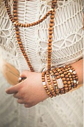 Wood Bead Necklace/Wrap Bracelet - Many More Colors