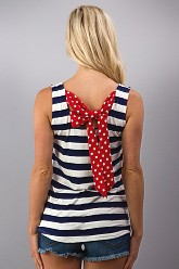 Striped Top with Bow - Navy
