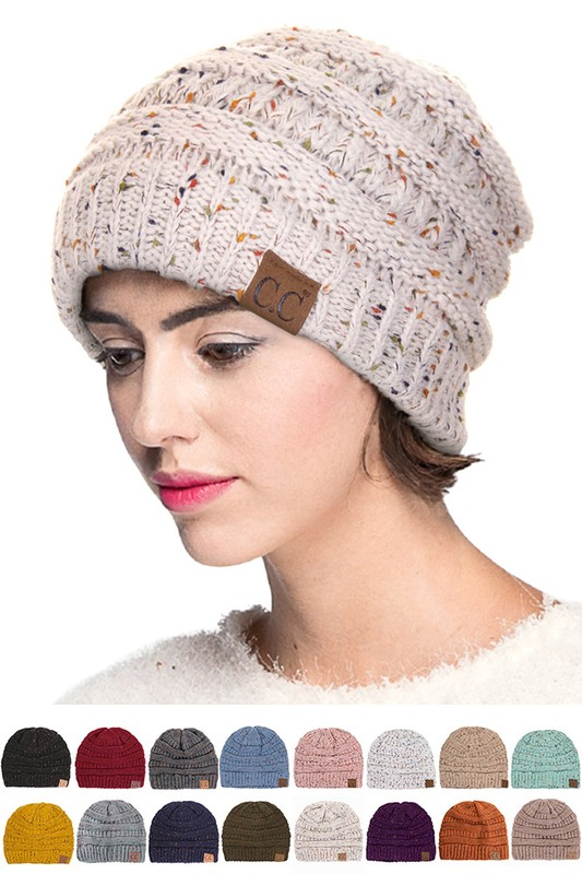CC Classic Cable Knit Confetti Beanie - Choose Color