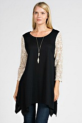 Tell Tale Tunic With Lace Sleeves - Black