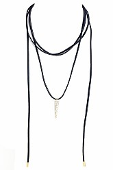 Suede Choker Bolo Necklace With Charm - Black