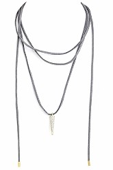 Suede Choker Bolo Necklace With Charm - Grey