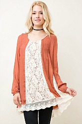 Southern Gem Lace Tunic - Rust