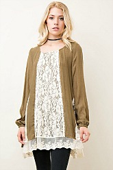 Southern Gem Lace Tunic - Olive