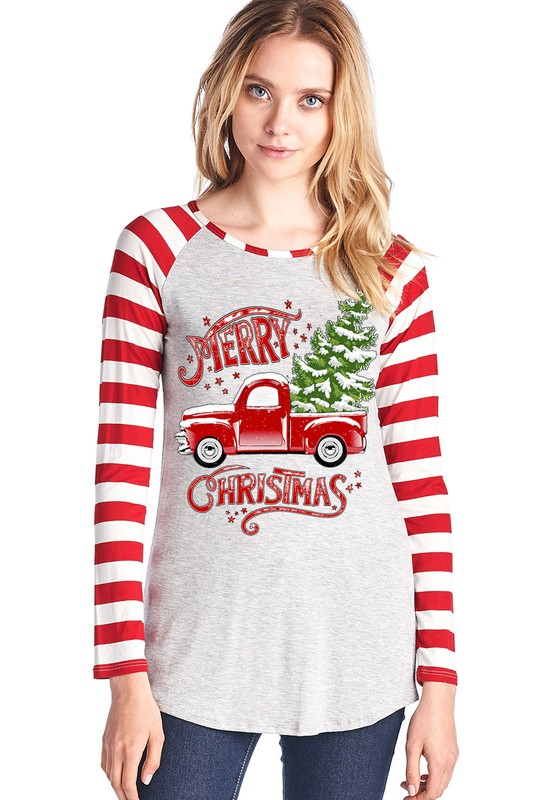 Red Pickup Truck and Tree Graphic Top