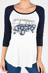 VW Flower Power Graphic Baseball Top