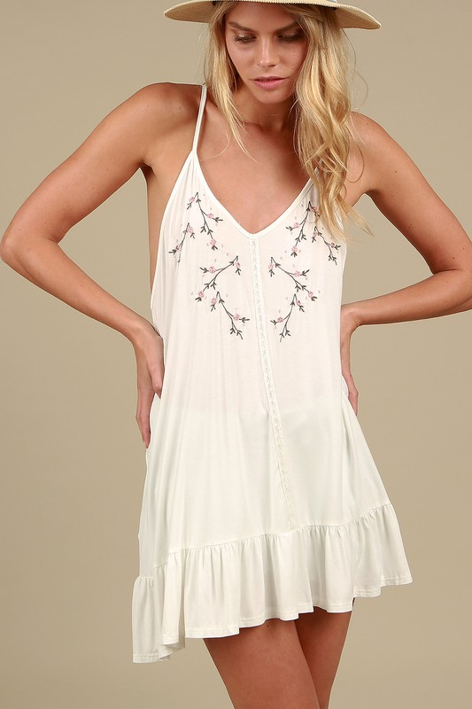 POL Floral Embroidered Tunic - Ivory