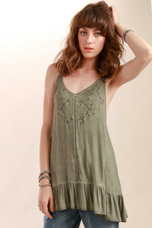 POL Floral Embroidered Tunic - Olive