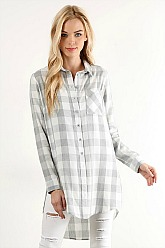 Grey and White Plaid Top