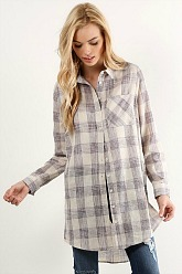 Pink and Linen Plaid Top