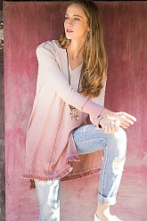 Ombré Hooded Tunic - Dusty Rose