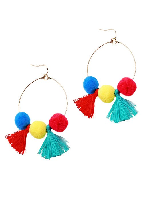 Pom Pom and Tassel Hoops