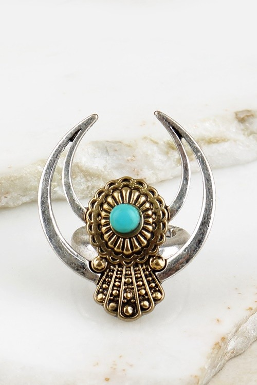 Crescent Horn and Blossom Ring