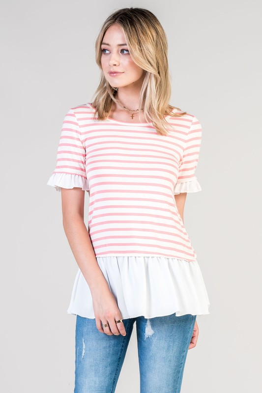 Great Day Out Striped Top - Strawberry