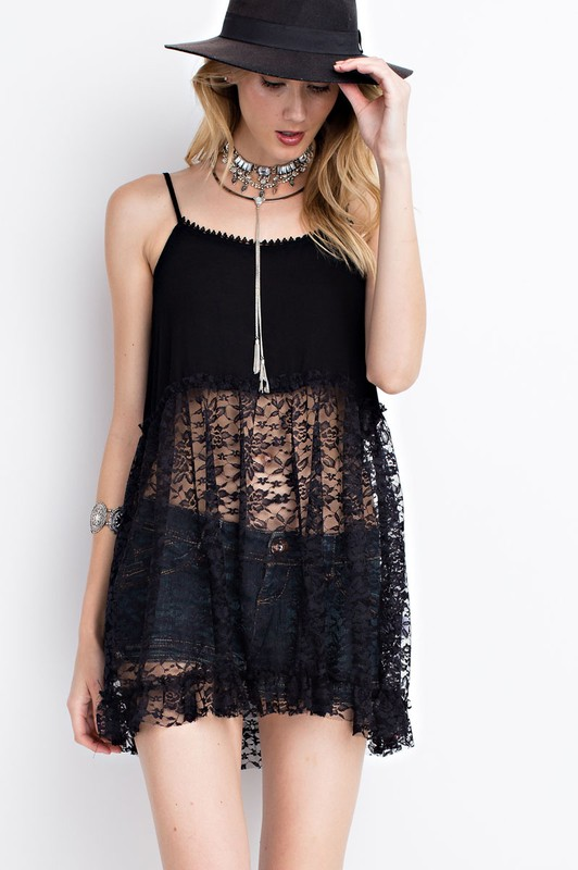 Mix and Match Black Lace Cami