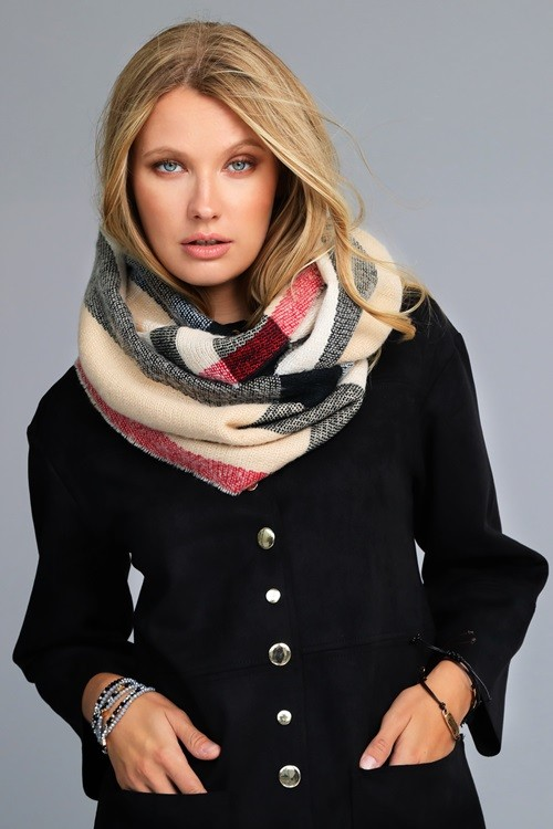 Brilliantly Beautiful Plaid Infinity Scarf - Beige