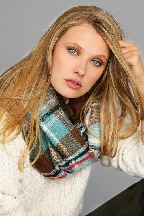 Brilliantly Beautiful Plaid Infinity Scarf - Brown