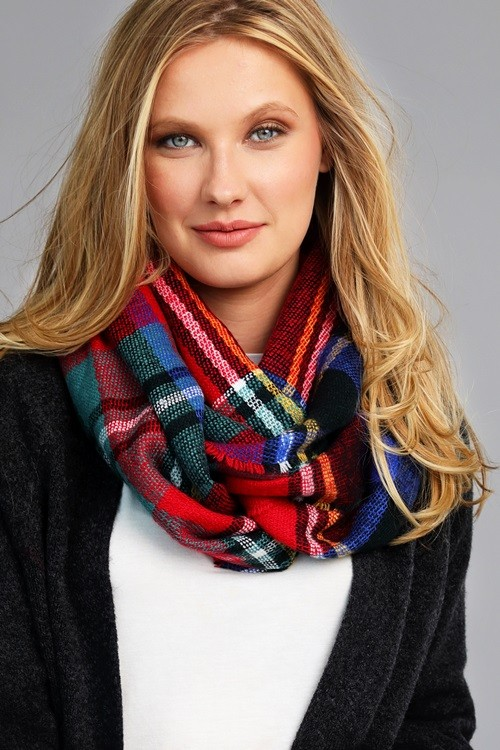 Brilliantly Beautiful Plaid Infinity Scarf - Red